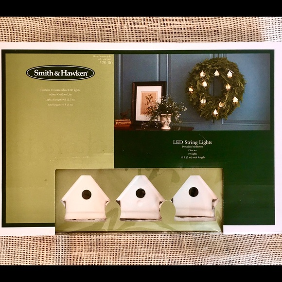Smith Hawken Holiday Smith Hawkins Porcelain Birdhouse String